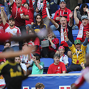 HARRISON, NEW JERSEY- OCTOBER 16:  New York Red Bulls fans celebrate a goal from Mike Grella #13 of New York Red Bulls during the New York Red Bulls Vs Columbus Crew SC MLS regular season match at Red Bull Arena, on October 16, 2016 in Harrison, New Jersey. (Photo by Tim Clayton/Corbis via Getty Images)