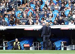 April 8, 2018 - Madrid, Madrid, Spain - Zinedine Zidane (Real Madrid) during the La Liga match between Real Madrid and Atletico de Madrid FC at Estadio Santiago Bernabeu. (Credit Image: © Manu Reino/SOPA Images via ZUMA Wire)