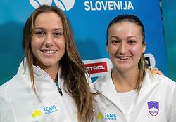 Kaja Juvan and Dalila Jakupovic during press conference of Slovenia Fed Cup tennis team, on January 31, 2019 in Telemach shop, TUS centre, BTC, Ljubljana, Slovenia. Photo by Vid Ponikvar / Sportida