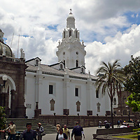 Americas, South America, Ecuador, Quito.  Quito's impressive historical center is marked my colonial architecture and a high concentration of churches, making Quito a UNESCO World Heritage Site.
