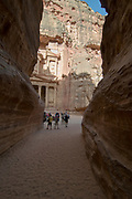 Middle East, Jordan, Petra, UNESCO World Heritage Site. The Treasury El-Khazneh, as seen from the end of Al-Siq The main entrance into the city. A 1207 metres long 3 to 16 metres wide and 100 Meters high natural gorge. April 2008