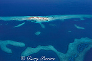 aerial view of Laughing Bird Caye, a narrow sand caye ( small island ), in Laughing Bird Caye National Park, southern Belize barrier reef in vicinity of Placencia, Belize, Central America ( Caribbean Sea )