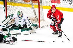 during ice hockey match between HDD SIJ Acroni Jesenice and HK SZ Olimpija in second game of Final at Slovenian National League, on May 3, 2021 in Podmezaklja, Jesenice, Slovenia. Photo by Matic Klansek Velej / Sportida