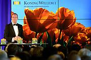 Uitreiking Koning Willem I prijs. De prijs, in de vorm van een beeldje, werd in de Nederlandse bank - Amsterdam uitgereikt door koningin Máxima, erevoorzitter van de stichting. <br /> <br /> King Willem I Award ceremony. The price in the form of a statuette, was in the Dutch banking - Amsterdam awarded by Queen Máxima, Honorary President of the Foundation.<br /> <br /> Op de foto / On the photo:   Klaas Knot  president van de Nederlandsche Bank (DNB)./ Klaas Knot President of the Dutch Federal Bank (DNB).