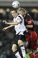 Photo: Pete Lorence.<br />Derby County v Queens Park Rangers. Coca Cola Championship. 13/03/2007.<br />Jay McEveley and Danny Cullip in some aerial action.