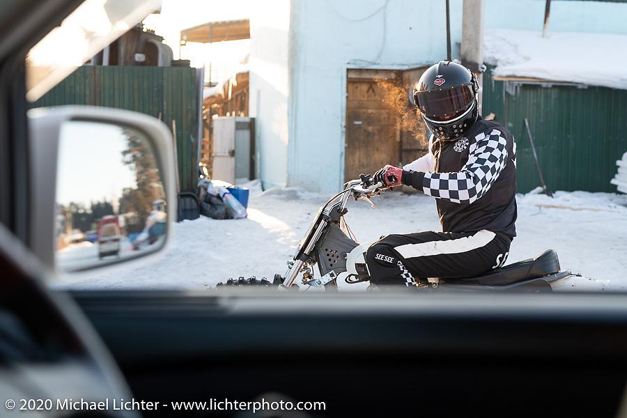 Moscow photographer Aleksei Kalabin riding his Kawasaki w650 racer after the Baikal Mile Ice Speed Festival. Maksimiha, Siberia, Russia. Monday, March 2, 2020. Photography ©2020 Michael Lichter.