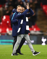 Tottenham Hotspur's Lucas Moura on the pitch at half time during the Premier League match at Wembley Stadium, London.