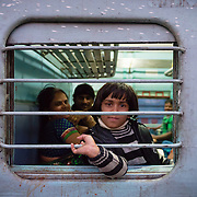 Young Indian girl on train