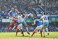 Coventry City Midfielder, Jordan Shipley (26) challenge for the ball from a corner during the EFL Sky Bet League 1 match between Portsmouth and Coventry City at Fratton Park, Portsmouth, England on 22 April 2019.