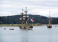 Lady Washington and Hawaiian Chiefton with pirates alongside.