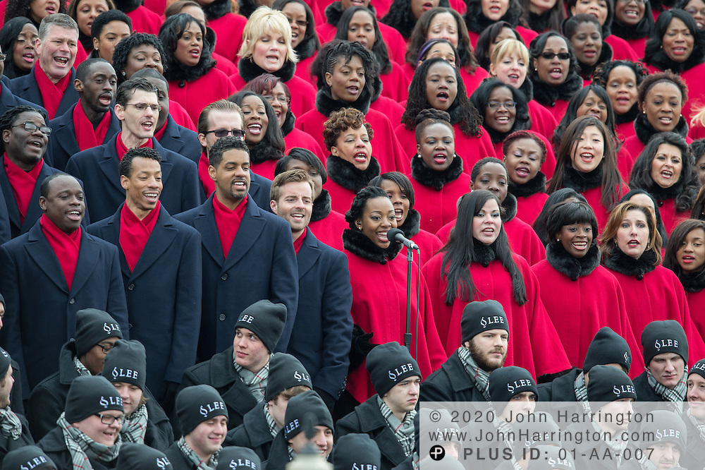 The Brooklyn Tabernacle Choir performs during the 57th Presidential Inauguration of President Barack Obama at the U.S. Capitol Building in Washington, DC January 21, 2013.