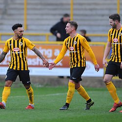 TELFORD COPYRIGHT MIKE SHERIDAN 2/3/2019 - GOAL. Gavin Allott (centre) celebrates after scoring to make it 2-1 to Boston during the National League North fixture between Boston United and AFC Telford United at the York Street Jakemans Stadium