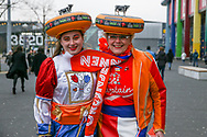 Dutch lady fans in fancy dress before the Friendly match between Netherlands and England at the Amsterdam Arena, Amsterdam, Netherlands on 23 March 2018. Picture by Phil Duncan.
