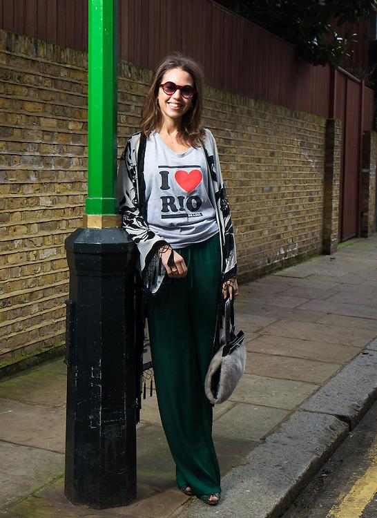 Olivia Martin street fashion shoot psychologies magazine in London on February 14. 2014.<br /> <br /> Photo Ki Price 2014