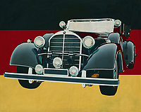 The 1938 Mercedes 770K Limousine was the car that was later used as a limousine not only by the German Armed Forces during the Second World War but later by the American and British as well. The reason was not far away. Soundness, reliability and space were its strong points that all dignitaries appreciated.<br /> <br /> This painting of the 1938 Mercedes 770K Limousine in front of the German flag can be purchased in various sizes and printed on canvas as well as wood and metal. You can also have the painting finished with an acrylic plate over it which gives it more depth.<br /> -<br /> - -<br /> -<br /> BUY THIS PRINT AT<br /> <br /> FINE ART AMERICA<br /> ENGLISH<br /> https://janke.pixels.com/featured/mercedes-770k-limousine-from-1938-in-front-of-german-flag-jan-keteleer.html<br /> <br /> <br /> WADM / OH MY PRINTS<br /> DUTCH / FRENCH / GERMAN<br /> https://www.werkaandemuur.nl/nl/shopwerk/Mercedes-770K-Limousine-uit-1938-voor-de-Duitse-vlag/661950/132?mediumId=1