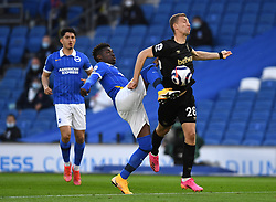 Brighton and Hove Albion's Yves Bissouma and West Ham United's Tomas Soucek (right) battle for the ball during the Premier League match at the American Express Community Stadium, Brighton. Picture date: Saturday May 15, 2021.
