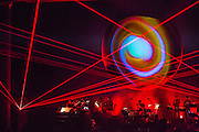 Planetarium, a series of songs composed by Bryce Dessner, Sufjian Stevens, and Nico Muhly at the Brooklyn Academy of Music (BAM).  Lighting design by Deborah Johnson.