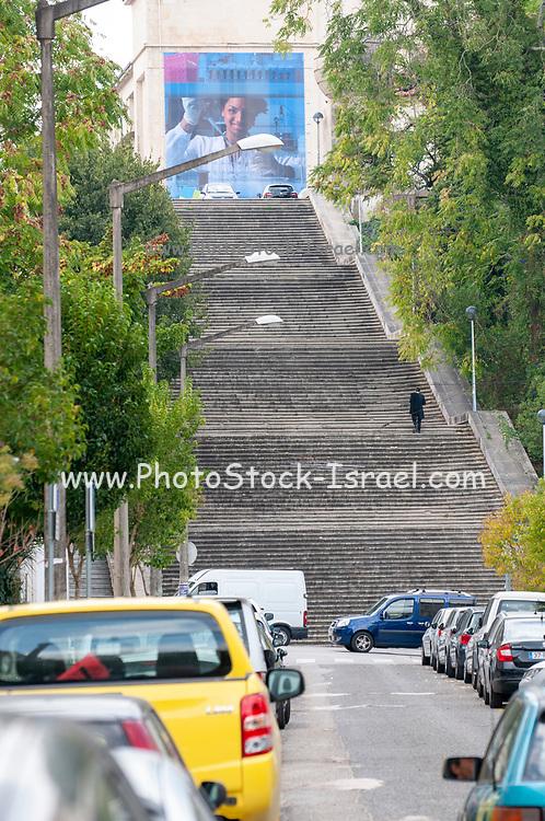 Escadas Monumentais Staircase for the steep climb to the top of university hill, Coimbra, Portugal