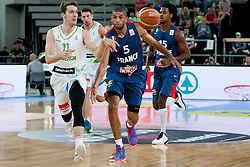 Goran Dragic of Slovenia and Nicolas Batum of France during last friendly match before Eurobasket 2013 between National teams of Slovenia and France on August 31, 2013 in SRC Stozice, Ljubljana, Slovenia. (Photo by Urban Urbanc / Sportida.com)