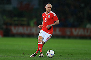 David Cotterill of Wales in action.Wales v Northern Ireland, International football friendly match at the Cardiff City Stadium in Cardiff, South Wales on Thursday 24th March 2016. The teams are preparing for this summer's Euro 2016 tournament.     pic by  Andrew Orchard, Andrew Orchard sports photography.