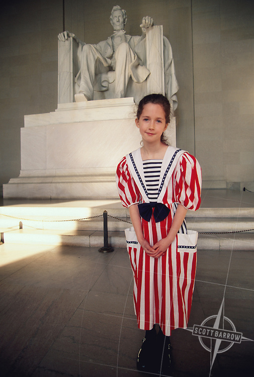 Girl in American flag dress at Lincoln Memorial