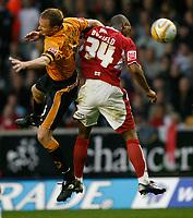Photo: Steve Bond/Sportsbeat Images.<br /> Wolverhampton Wanderers v Bristol City. Coca Cola Championship. 03/11/2007. Darren Byfield (R) gets the nod on Jody Craddock (L)