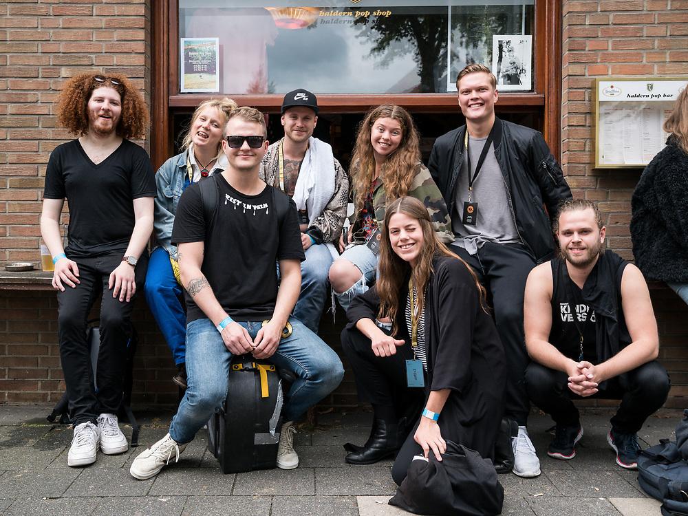 The musicians of Icelandic bands Mammút and Emmsjé Gauti at Haldern Pop Festival