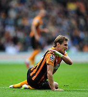 Hull City's Nikica Jelavic reacts after his penalty appeal was turned down <br /> <br /> Photographer Chris Vaughan/CameraSport<br /> <br /> Football - Barclays Premiership - Hull City v Manchester United - Sunday 24th May 2015 - Kingston Communications Stadium - Hull<br /> <br /> © CameraSport - 43 Linden Ave. Countesthorpe. Leicester. England. LE8 5PG - Tel: +44 (0) 116 277 4147 - admin@camerasport.com - www.camerasport.com