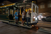 Image of a cable car on Nob Hill at dusk, San Francisco, California, America west coast by Randy Wells