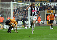 Photo: Rich Eaton.<br /> <br /> Wolverhampton Wanderers v West Bromwich Albion. Coca Cola Championship. Play off Semi Final, 1st Leg. 13/05/2007. West Broms Diomansy Kamara scores to make it 3-2 in the second half and celebrates