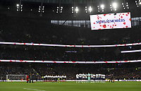 Football - 2019 / 2020 Premier League - Tottenham Hotspur vs. Sheffield United<br /> <br /> A minute's silence for Remembrance Day before the game, at Tottenham Hotspur Stadium.<br /> <br /> COLORSPORT/ASHLEY WESTERN