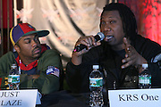 Just Blaze and KRS-ONE at The Smirnoff Press Conference announcing Music Series held at Element on February 26, 2008