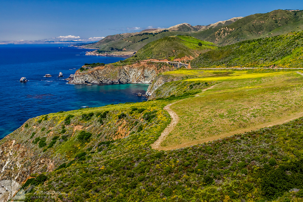 The view of Bixby Bridge, from Hurricane Point, looking north, along the California, Big Sur Coast