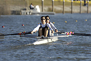 Seville. SPAIN, 18.02.2007, ESP ARG LW2X  Bow Teresa mas de XAXARS, move away from the start pontoon during Sunday morning's  heats, at the FISA Team Cup, held on the River Guadalquiver course. [Photo Peter Spurrier/Intersport Images]    [Mandatory Credit, Peter Spurier/ Intersport Images]. , Rowing Course: Rio Guadalquiver Rowing Course, Seville, SPAIN,