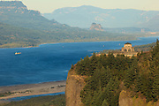 Barge on the Columbia River in the Columbia Gorge, Oregon.