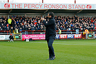 Blackpool's Manager Gary Bowyer applauds the Blackpool fans during the EFL Sky Bet League 1 match between Fleetwood Town and Blackpool at the Highbury Stadium, Fleetwood, England on 25 November 2017. Photo by Paul Thompson.