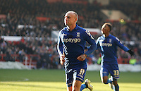 Birmingham City's David Cotterill celebrates scoring his sides first goal <br /> <br /> Photographer Jack Phillips/CameraSport<br /> <br /> Football - The Football League Sky Bet Championship - Nottingham Forest v Birmingham City - Saturday 28th December - The City Ground - Nottingham<br /> <br /> © CameraSport - 43 Linden Ave. Countesthorpe. Leicester. England. LE8 5PG - Tel: +44 (0) 116 277 4147 - admin@camerasport.com - www.camerasport.com
