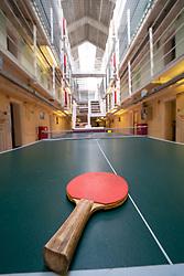 Interior view of games equipment in former prisoner hall at Peterhead Prison Museum in Peterhead, Aberdeenshire, Scotland, UK