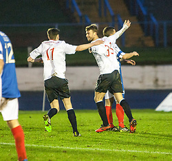 Falkirk's Rory Loy celebrates with team mates after scoring their second goal.<br /> Cowdenbeath 0 v 2 Falkirk, Scottish Championship game today at Central Park, the home ground of Cowdenbeath Football Club.<br /> © Michael Schofield.