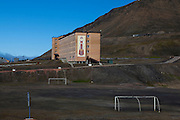 Football pitch in Barentsburg, a Russian coal mining town in the Norwegian Archipelego of Svalbard. Once home to about 2000 miners and their families, less than 500 people now live here.