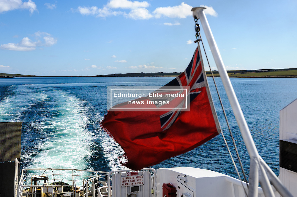The wake of the MV Penralina as she sails across the Pentland Firth between Scotland and the Orkney Islands<br /> <br /> (c) Andrew Wilson | Edinburgh Elite media