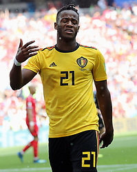 June 23, 2018 - Moscow, RUSSIA - Belgium's Michy Batshuayi reatcs at the second game of Belgian national soccer team the Red Devils against Tunisia national team in the Spartak stadium, in Moscow, Russia, Saturday 23 June 2018. Belgium won its first group phase game. BELGA PHOTO BRUNO FAHY (Credit Image: © Bruno Fahy/Belga via ZUMA Press)