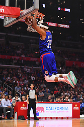 October 19, 2018 - Los Angeles, CA, U.S. - LOS ANGELES, CA - OCTOBER 19: Los Angeles Clippers Forward Tobias Harris (34) dunks the ball during a NBA game between the Oklahoma City Thunder and the Los Angeles Clippers on October 19, 2018 at STAPLES Center in Los Angeles, CA. (Credit Image: © Brian Rothmuller/Icon SMI via ZUMA Press)