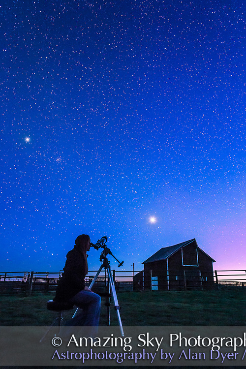 Observing Venus in the evening twilight, at the Old Man on His Back Prairie and Heritage Conservation Area in southwest Saskatchewan, May 2015. Jupiter shines above at left. This is a single 30 second exposure at f/4.5 with the 24mm lens and Canon 6D at ISO 2500.