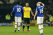 Romelu Lukaku of Everton shakes hands with Troy Deeney, the Watford captain . Premier league match, Watford v Everton at Vicarage Road in Watford, London on Saturday 10th December 2016.<br /> pic by John Patrick Fletcher, Andrew Orchard sports photography.
