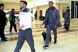 KAZAN, RUSSIA - Thursday, November 5, 2015: Liverpool's Adam Lallana and manager Jürgen Klopp arrive before the UEFA Europa League Group Stage Group B match against FC Rubin Kazan at the Kazan Arena. (Pic by Oleg Nikishin/Propaganda)
