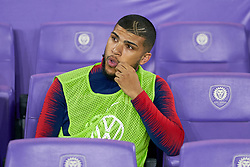 March 21, 2019 - Orlando, FL, U.S. - ORLANDO, FL - MARCH 21: United States defender DeAndre Yedlin (2) looks on from the bench area prior to game action during an International friendly match between the United States and Ecuador on March 21, 2019 at Orlando City Stadium in Orlando, FL. (Photo by Robin Alam/Icon Sportswire) (Credit Image: © Robin Alam/Icon SMI via ZUMA Press)