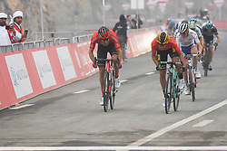 March 1, 2019 - Ajman, United Arab Emirates - The Red Jersey, Primoz Roglic (Right) of Slovenia and Team Jumbo - Visma, challenged by Tom Dumoulin (Left) on his way to win the sixth Rak Properties Stage of UAE Tour 2019, a 180km with a start from Ajman and finish in Jebel Jais. .On Friday, March 1, 2019, in Jebel Jais, Ras Al Khaimah Emirate, United Arab Emirates. (Credit Image: © Artur Widak/NurPhoto via ZUMA Press)