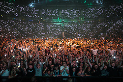© Licensed to London News Pictures . 09/09/2017. Manchester , UK . Crowd in the venue . We Are Manchester reopening charity concert at the Manchester Arena with performances by Manchester artists including  Noel Gallagher , Courteeners , Blossoms and the poet Tony Walsh . The Arena has been closed since 22nd May 2017 , after Salman Abedi's terrorist attack at an Ariana Grande concert killed 22 and injured 250 . Money raised will go towards the victims of the bombing . Photo credit: Joel Goodman/LNP