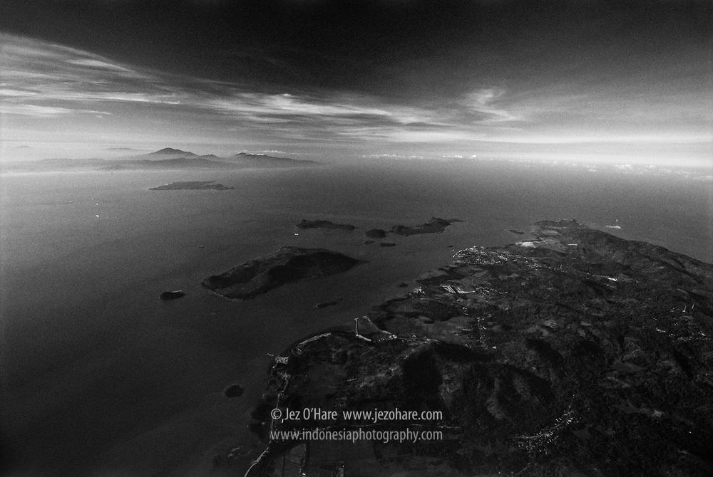 Bakaheuni, Lampung, Sumatra (RHS), the Sunda Straits, Sangiang island & Banten, Java (LHS), Indonesia.